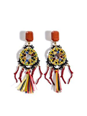 Raffia and macramé multi-bead earrings