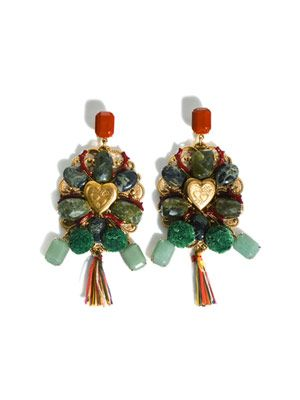 Stone and tassle embellished clip-on earrings