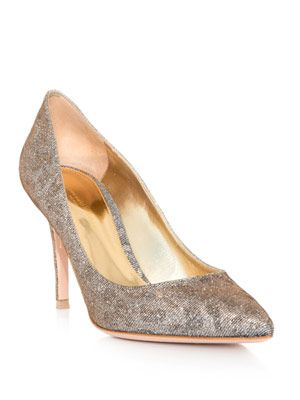 Metallic leopard point-toe shoes