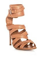 Strappy leather ankle strap sandals