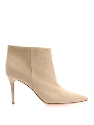 Point-toe suede boots