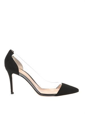Plexi suede and PVC pumps