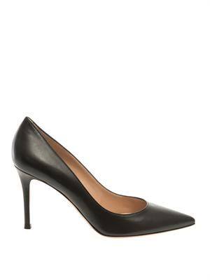 Business point-toe leather pumps