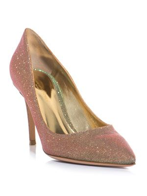 Flash glitter point-toe shoes