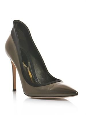 Satin contrast tux pumps
