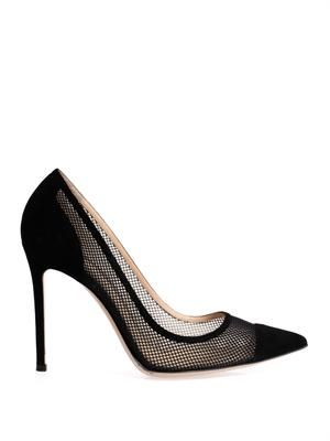 Point-toe mesh and suede pumps