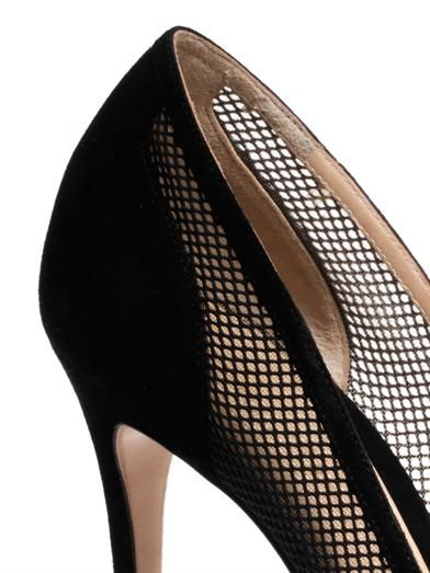 Gianvito Rossi Point-toe mesh and suede pumps