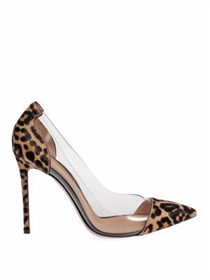 Leopard pony hair and PVC pumps