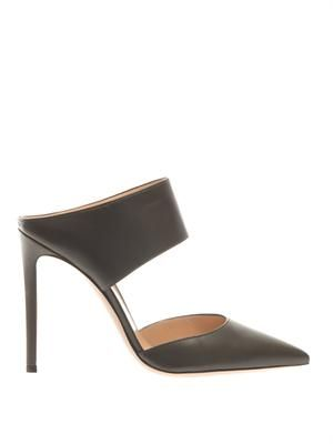 Point-toe nappa leather mules
