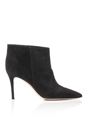 Point-toe suede ankle boots