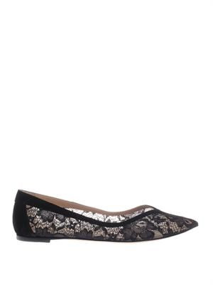 Lace point-toe flat shoes