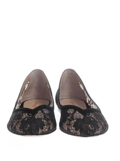 Gianvito Rossi Lace point-toe flat shoes