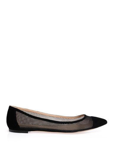 Gianvito Rossi Mesh flat suede shoes