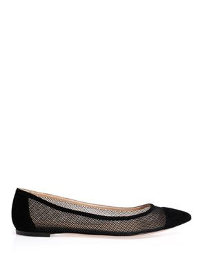 Mesh flat suede shoes