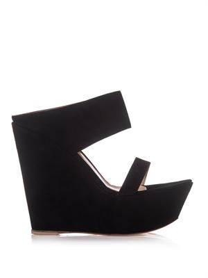 Suede double-strap wedges