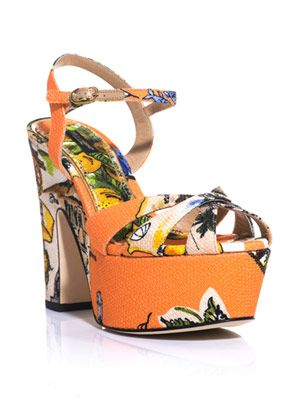 Siciliana print canvas sandals