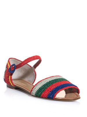 Raffia stripe and flower sandals