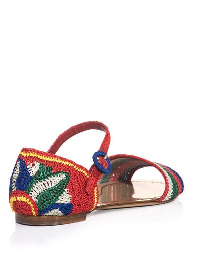 Dolce & Gabbana Raffia stripe and flower sandals