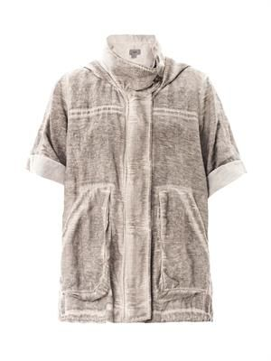 Silk cotton short-sleeve parka