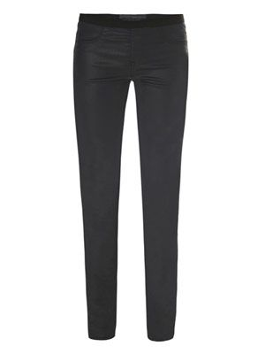 Coated stretch skinny leggings