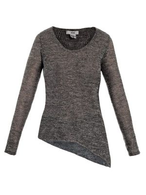 Linen-blend asymmetric sweater