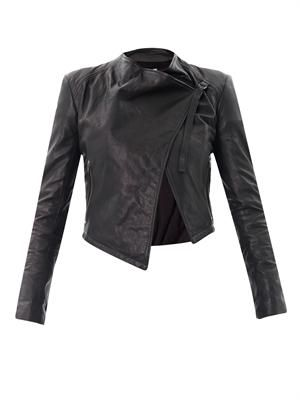 Waterfall front leather jacket