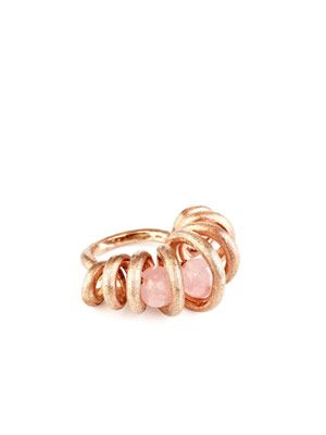 Rose quartz & gold Cocoon ring