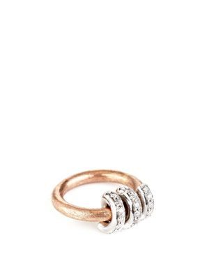 Diamond & rose gold Flintstone ring