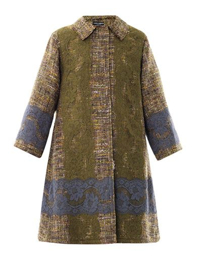 Dolce & Gabbana Lace-panel tweed coat