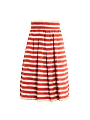 Raffia-trim jacquard-stripe skirt