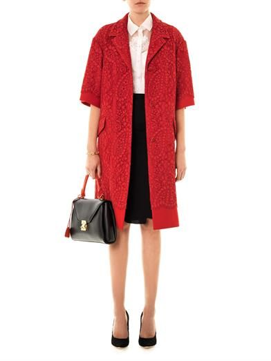Dolce & Gabbana Lace and wool A-line coat