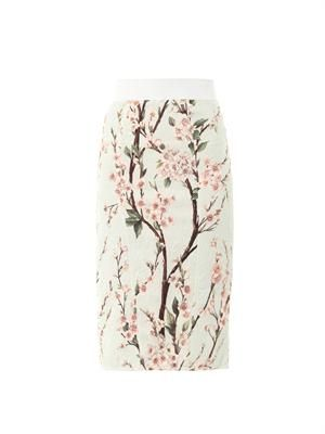 Almond blossom-print pencil skirt