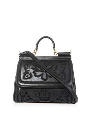 Sicily embroidered laser-cut leather bag