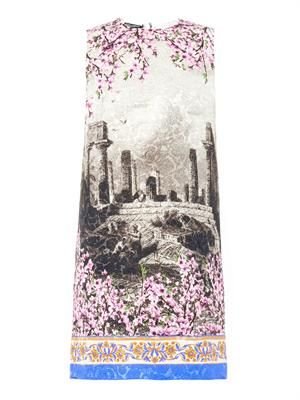 Temple and blossom-print jacquard dress