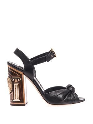 Inlaid wood leather sandals