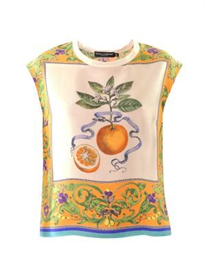 Orange and floral-print silk top
