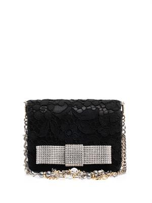 Karly crystal-bow lace clutch