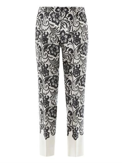 Dolce & Gabbana Lace-print cropped trousers