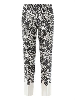 Lace-print cropped trousers