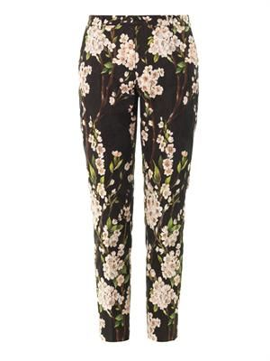 Floral-brocade tapered-leg trousers