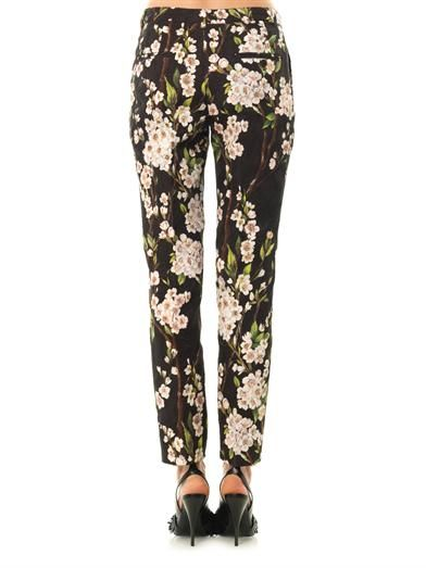 Dolce & Gabbana Floral-brocade tapered-leg trousers