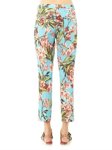 Dolce & Gabbana Brocade Oleander-print trousers