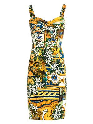 Mediterranean-print ruched dress