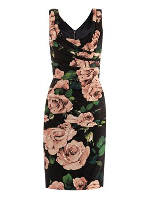 Rose-print ruched dress