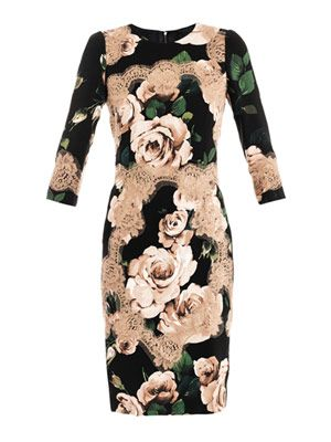 Rose-print fitted dress