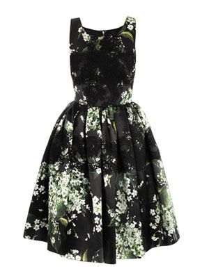 Lily of the Valley print prom dress