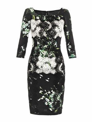 Lily of the Valley print fitted dress