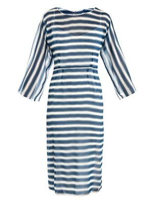 Stripe silk-organza dress