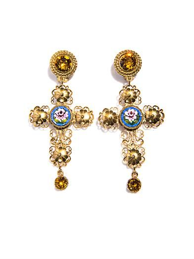 Dolce & Gabbana Filigree cameo cross earrings