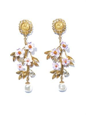 Blossom flower and pearl earrings